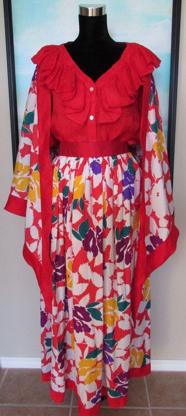 VTG Oscar de la Renta Couture Red Linen & Silk  Top & Skirt Sz 12 14