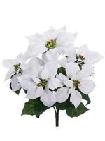 17 Artificial Velvet Poinsettia Bush White (pack Of 12) Silk Flower Plant Decor