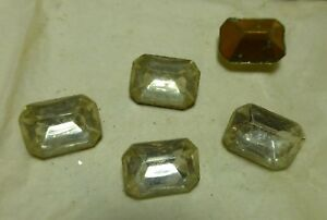 Details about 18x13mm crystal faceted foiled glass stones, 1/3 gross,  Vintage BIN516
