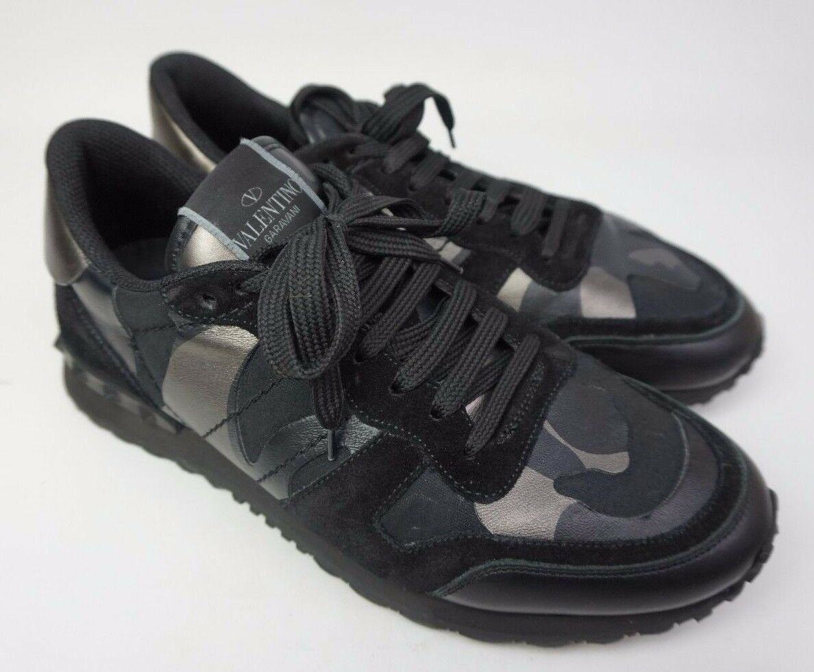 Valentino Rockrunner Men's Camo Sneakers Rockstud Black Shoes Size 40 / 7 US