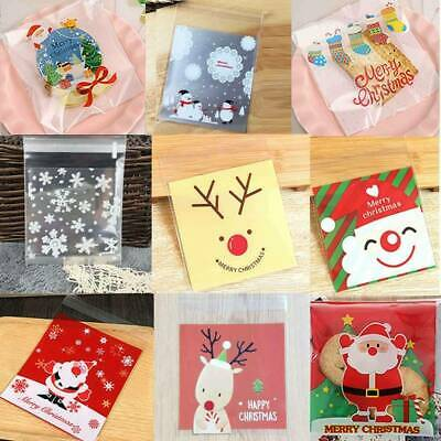 100 Christmas Cellophane Treat Bags Sweet Biscuit Cookie Cello Party Favour Gift