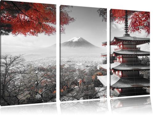 Japanischer Tempel im Herbst  3-Teiler Leinwandbild Wanddeko Kunstdruck