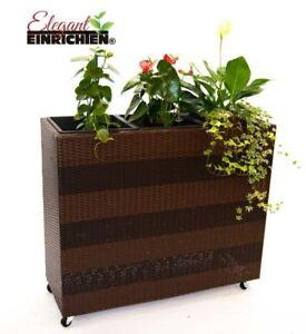 pflanzk bel pflanztrog polyrattan als raumteiler mit rollen 82x30x86cm ebay. Black Bedroom Furniture Sets. Home Design Ideas