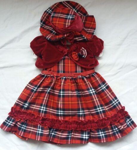 Baby Girls Spanish Tartan Dress Christening Red Velvet Bolero Wedding Pageant