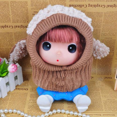 Winter Baby Warm Cute Dog Knitted Crochet Cloak Hooded Hat Cap Scarf