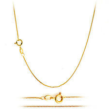 18K Gold Plated Classic Italian Thin Box Chain Necklace for Pendants - ALL SIZES