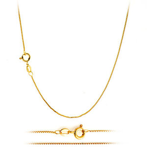 18K Gold Plated Classic Italian Thin Box Chain Necklace for Pendants