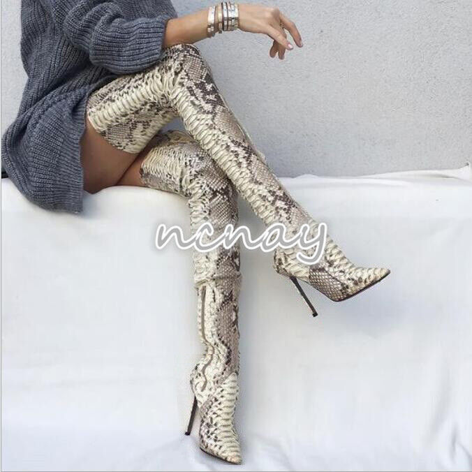 Women snakeskin Pattern Shoes over Pointy Toe Stilettos Thigh High Boots Sexy SZ