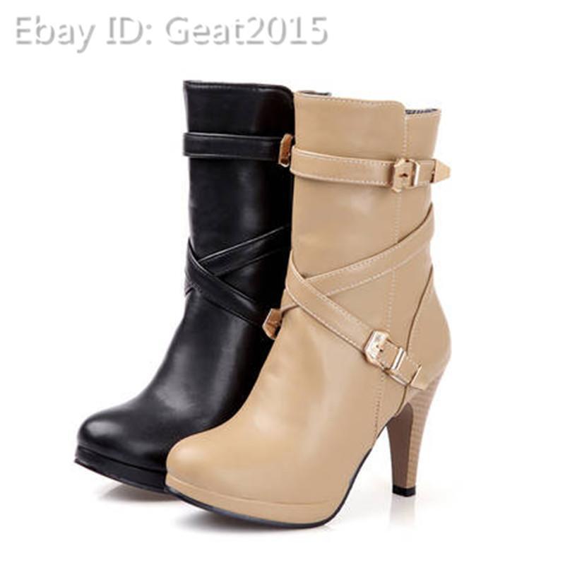 Gr32-47 Damen OL  Stiefeletten Elegant Fashion Stiefel  OL Schwarz Aprikose Winter 31550b