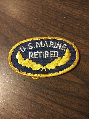 """NEW US MARINE CORPS /""""RETIRED/"""" 3 1//2/"""" Oval Military Patch Iron OR Sew-on"""