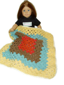 "Crocheted Blanket fits 18"" American Girl Doll & 15"" Bitty Baby 17 1/2"" X 17 1/2"""