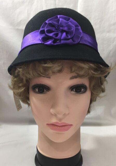 2007 NWT Ladies Womens Capelli New York Hat Black Wool Felt Cloche 5276B 190218d6e68