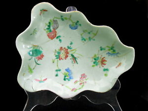 19thC-Chinese-Export-Famille-Rose-Celadon-Leaf-Shaped-Footed-Dish-10-3-8-034-d