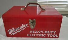 Vintage Milwaukee Metal Tool Box Heavy Duty Electrical Tool Red Case Nice