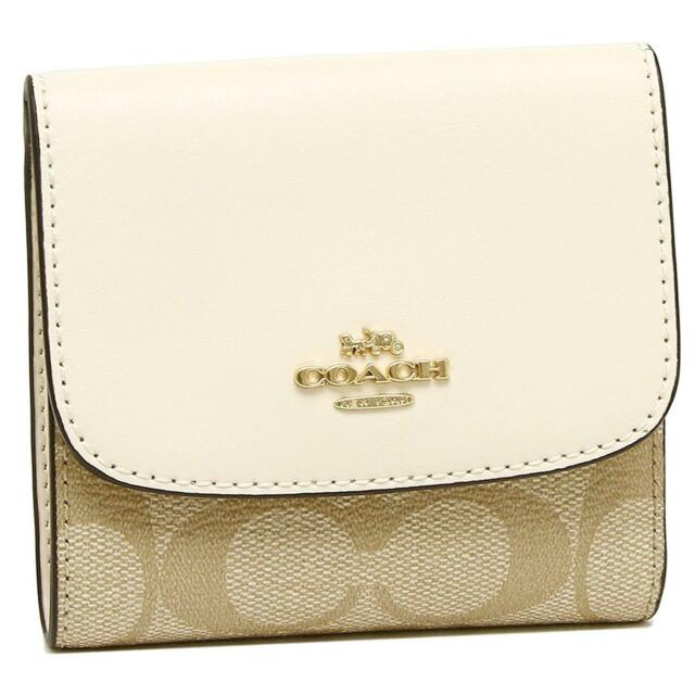 new product b3c7f 7c4d9 Coach Signature PVC Leather Trifold Small Wallet Khaki/chalk F87589