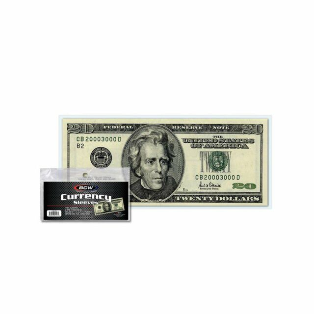 GUARDHOUSE CURRENCY SLEEVES LARGE SIZE US NOTES 100