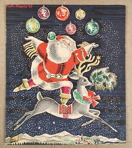 Rare 1952 RUTH REEVES CHRISTMAS CARD No. 25 R 62 Santa Claus for IRENE DASH Co.