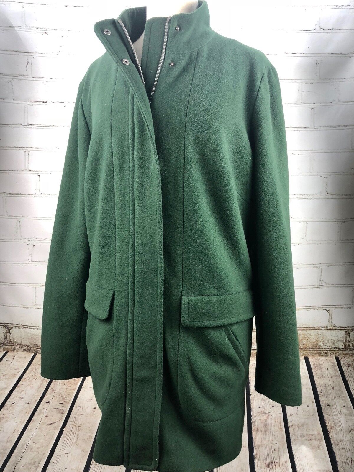 J Jill Fall Winter Coat - Fleece - Long Thigh Length Hunter Green  MSRP Sz L