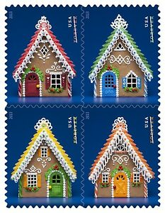 Scott-4817-20-Gingerbread-Houses-Booklet-Block-of-4-2013-Mint-NH