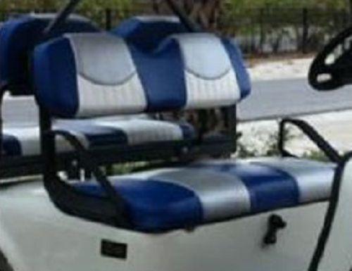 Club Car Precedent Golf Cart Deluxe™ Vinyl Seat Covers-Staple On(Tri-Clr w/Plts)