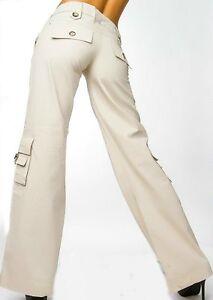 SeXy-Miss-Damen-Cargo-Style-Taschen-Sommer-Stoff-Hueft-Hose-T36-34-XS-beige-NEU