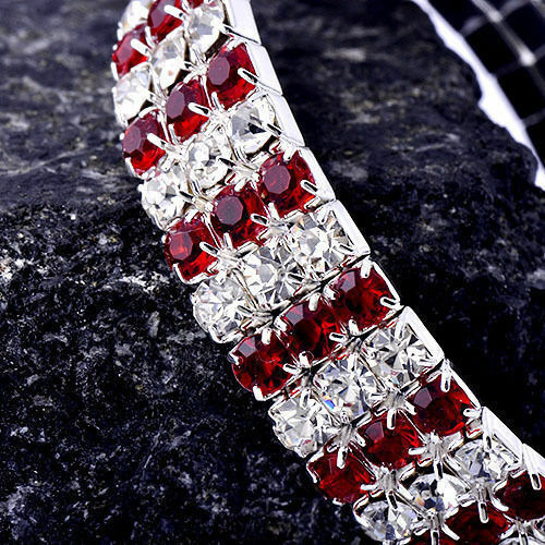 Womens White GF Silver 3 Row Clear Red crystal Stretch elastic Bracelet