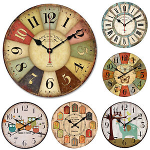 Incroyable Image Is Loading Wooden Vintage Wall Clocks Shabby Chic Rustic Retro