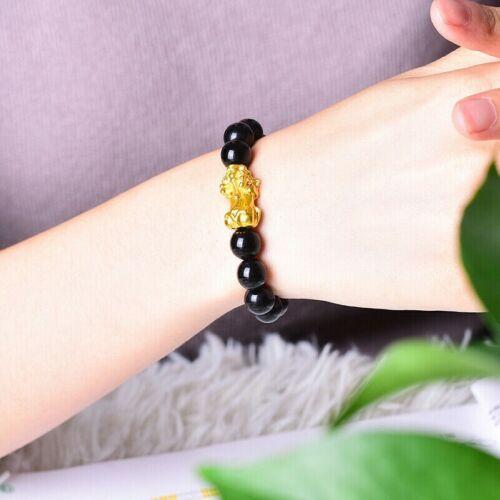 New Feng Shui Obsidian Stone Pi Xiu Bead Wealth Bracelet Black Charm Jewelry SPW