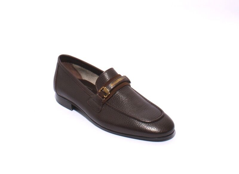 ROBERTO SERPENTINI 27201a Brown Pebbled Soft Leather Loafers Shoes 40 / US 7
