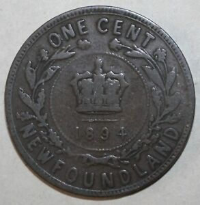 Newfoundland-One-Cent-Coin-1894-KM-1-Canada-Queen-Victoria-1-Penny