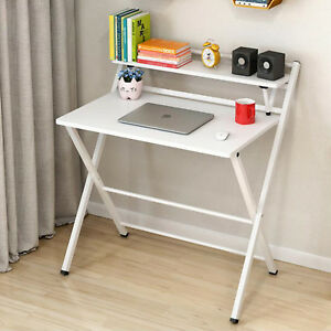 White Foldable Computer Desk Folding