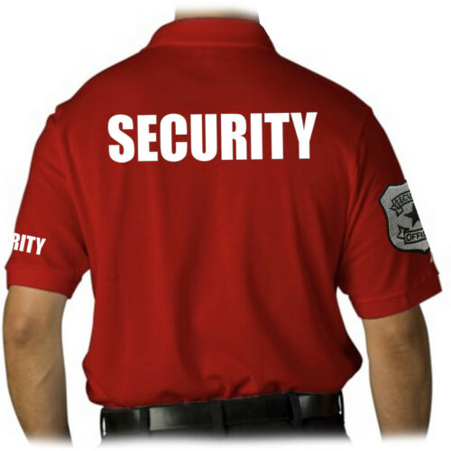 MEN/'S PRINTED SECURITY EMBROIDERY BADGE POLICE STAFF UNIFORM COLLAR POLO T-SHIRT