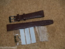 BROWN 16mm OPEN ENDED DENVER CALF LEATHER WATCH STRAP 2 BUCKLES