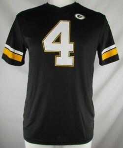 Green-Bay-Packers-Men-NFL-4-Brett-Favre-Hall-of-Fame-Black-Jersey-Shirt-S-L-XL