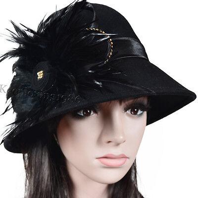 Lady Wool Cloche Felt Dress Hat Plume Kentucky Derby Church Hat