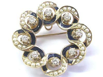 "Fine Vintage Seed Pearls & Blue Enamel Diamond YG Pin / Brooch 1 1/4"" .64Ct"