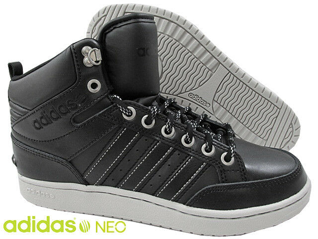 Adidas Men's NEO HOOPS PREMIUM black leather mid shoes trainers  Seasonal clearance sale