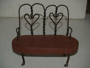 Doll Furniture Metal And Wood Love Seat Heart Shaped Backs Ebay