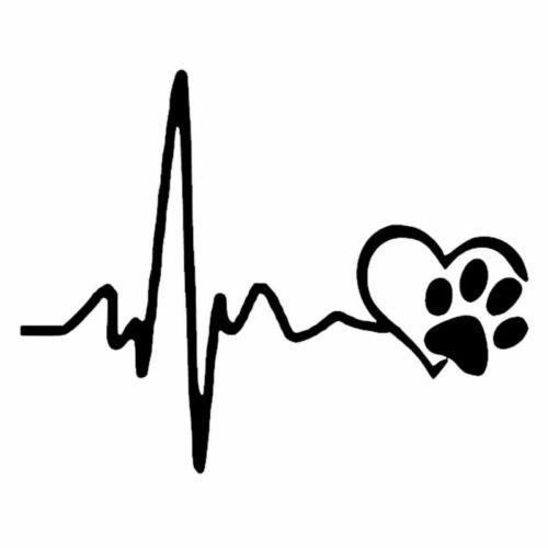 2X Heartbeat Love Dog Footprint Sticker Motorcycle Laptop Vinyl Truck Wall Decal