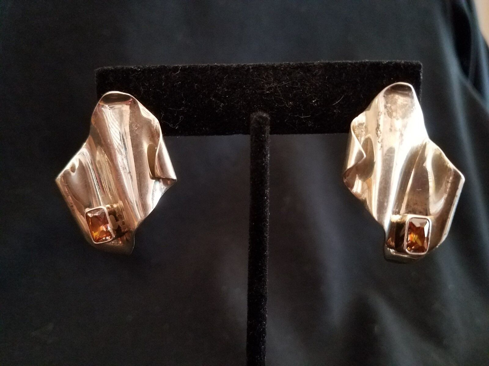 Gallery Artisan Crafted Signed Firery Topaz Wave Earrings