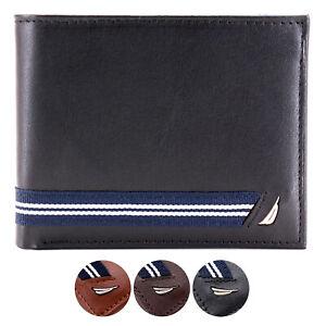 Nautica-Men-039-s-Genuine-Leather-Credit-Card-ID-Double-Billfold-Passcase-Wallet