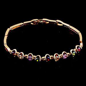 10K-Rose-Gold-Filled-GF-Colour-Stones-Bracelet-Bangle-20cm-Long-6mm-Wide