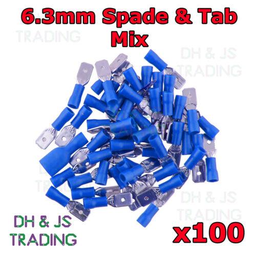 100 x Blue 6.3mm Spade Terminal Connector Tab 50 Male 50 Female Crimp Terminals