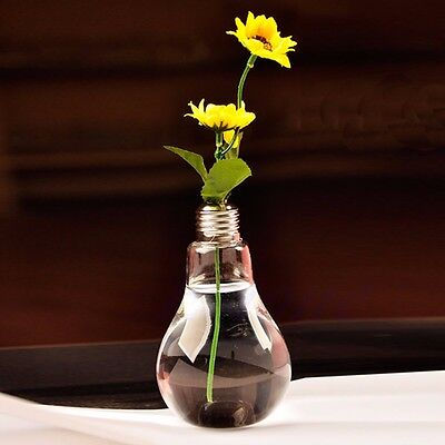 Light Bulb Hanging Glass Flower Vase Pot Hydroponic Container Home Wedding Decor
