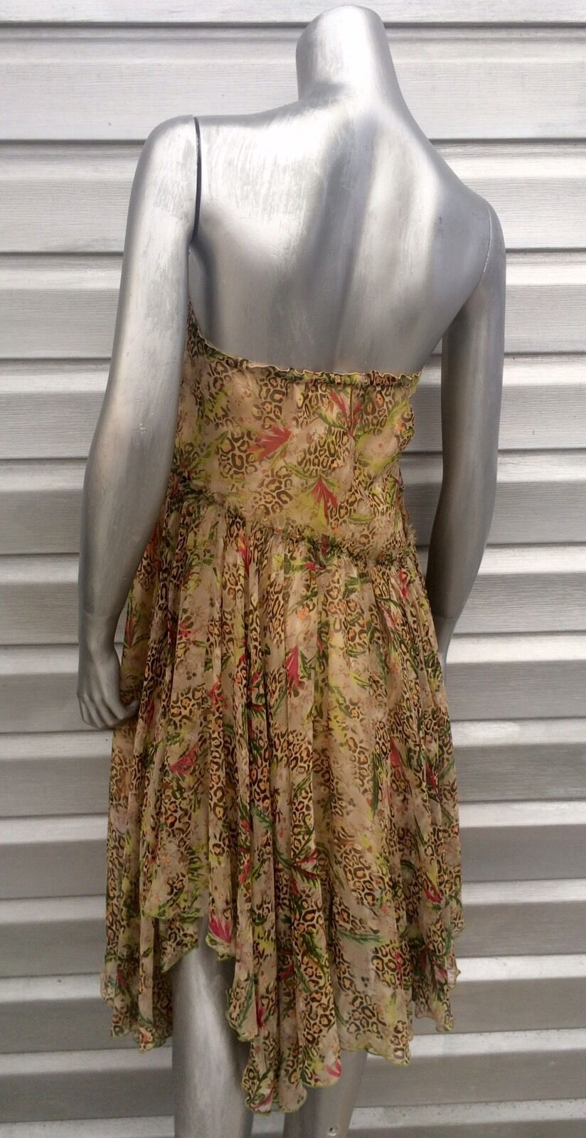 DIANE VON FURSTENBERG Silk Safari Print Congreenible Asymmetrical Asymmetrical Asymmetrical Skirt Dress 73ed58