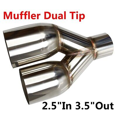 """2PCS Sliver Exhaust Single Layer Straight Tip Polished Stainless 2.5/"""" In 3.5/""""Out"""