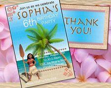 Printable Moana Customized Birthday Party INVITATION + THANK YOU CARD set