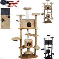80 Cat Tree Condo Furniture Scratch Post Pet House Beige/navy/beige Paws 3color