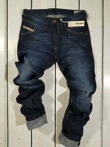 Rrp-179-Nuovo-Jeans-Diesel-Uomo-Belther-0R0S3-Regular-Slim-Tapered-Blu