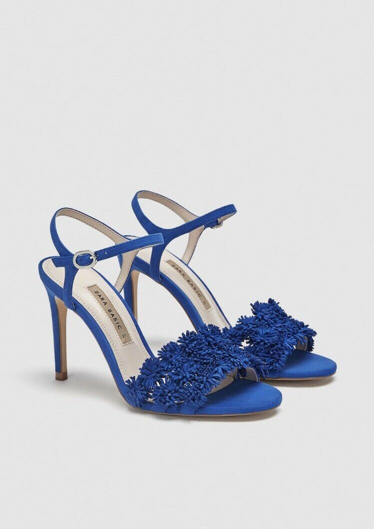 Zara Tacco Alto Sandali Con Dettaglio Floreale In Pelle BLU Taglia 7 NUOVO